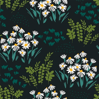 Abstract floral seamless pattern with chamomile. trendy hand drawn textures.