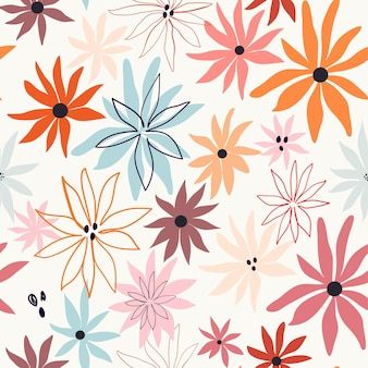 Abstract floral seamless pattern with colorful flowers