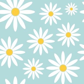 手描き、トレンディな手描きのテクスチャと抽象的な花のシームレスなパターンデイジーフラワー