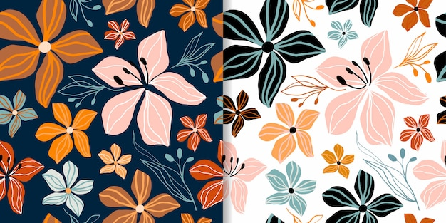 Abstract floral seamless patterns set with decorative cut out shapes, trendy design