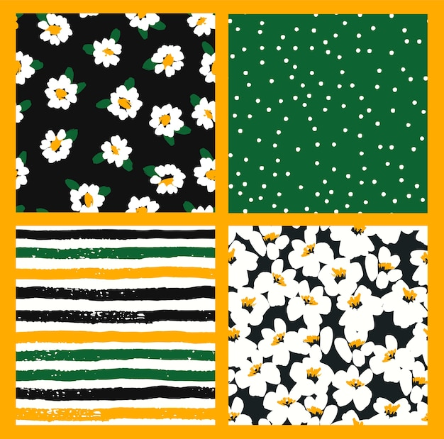Abstract floral seamless patterns with chamomile. trendy hand drawn textures.
