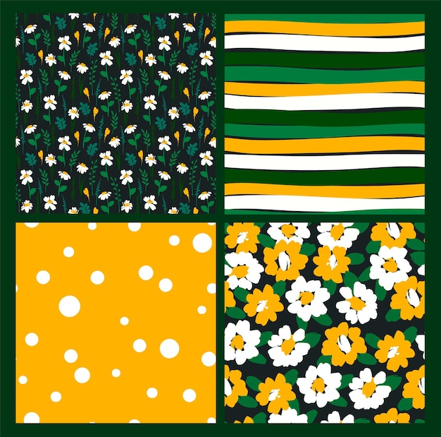 Abstract floral seamless patterns with chamomile.
