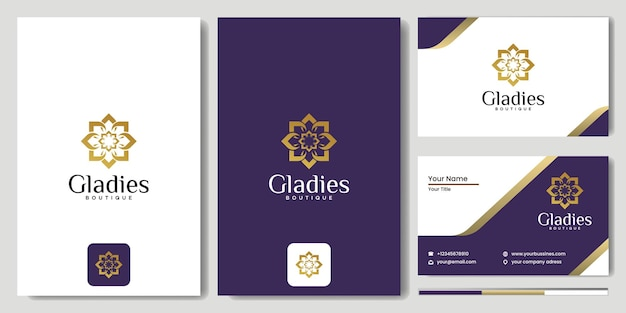 抽象的な花の渦巻きロゴアイコンベクトルデザイン。エレガントな線形ベクトルロゴタイプシンボル、花のコンセプトを持つモノグラムブティックとファッションのブランドロゴ