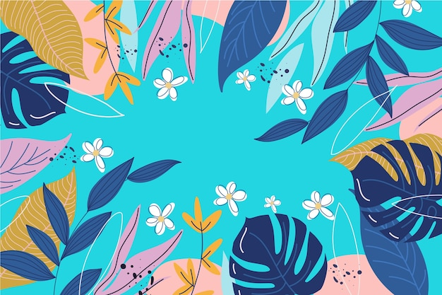 Abstract floral wallpaper flat design