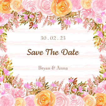 Abstract floral wedding card template with flowers