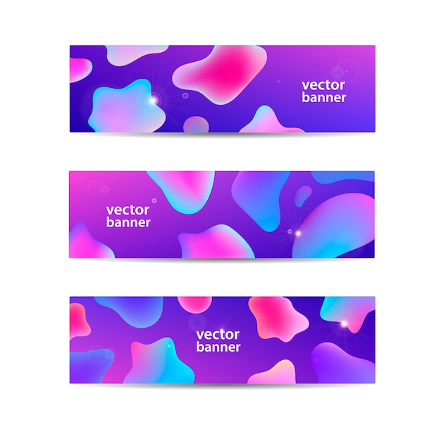 Abstract flow wavy banners set. water, stream, energy stream horizontal backgrounds. wave liquid, transparent, gradient headers