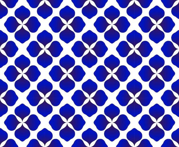 추상 꽃 파란색과 흰색 패턴