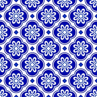 Abstract flower blue pattern, blue and white tile pattern, indigo seamless background