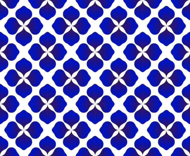 Abstract flower blue and white pattern