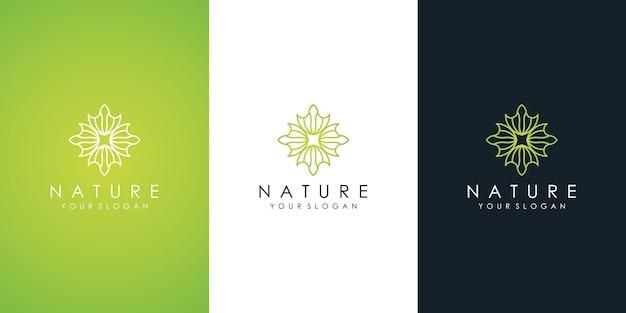 抽象的な花のロゴと名刺。