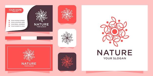 Абстрактный цветочный логотип и визитная карточка