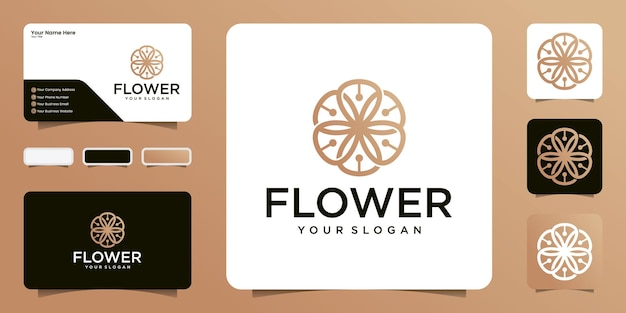 抽象的な花のロゴと名刺