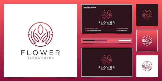 抽象的な花のロゴのデザインと名刺
