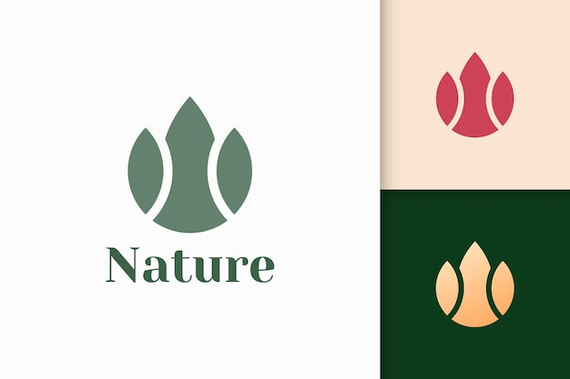 Abstract flower logo in simple and luxury style for health and beauty
