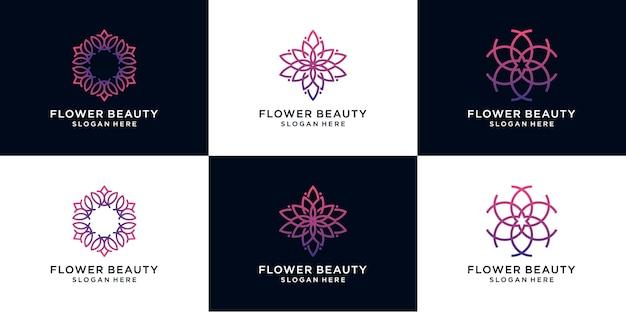 ラインアートスタイルの抽象的な花のロゴ