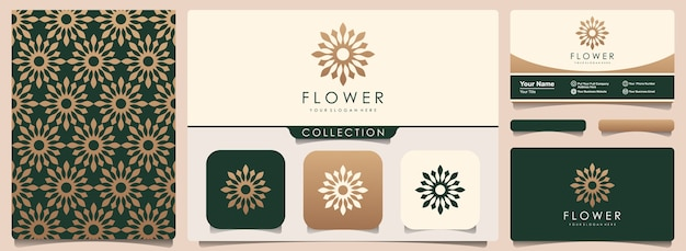 Abstract flower logo with pattern and business card