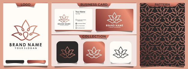 Abstract flower lotus logo with set of pattern and business card template
