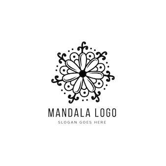 추상 꽃 만다라 로고 템플릿 디자인은 흑백 색상을 사용합니다.