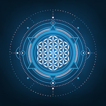 Abstract flower of life geometric spiritual design