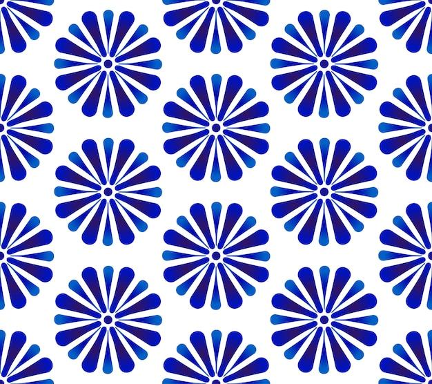 Абстрактный цветочный узор синий и белый