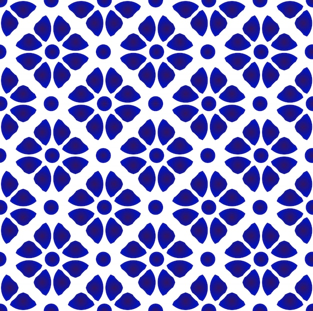 Abstract flower pattern blue and white