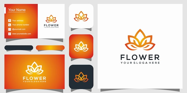 Abstract flower rose logo and business card