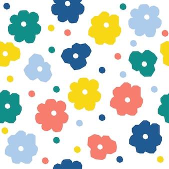추상 꽃 원활한 패턴 배경입니다. 디자인 카드, 벽지, 앨범, 스크랩북, 휴일 포장지, 섬유 직물, 가방 인쇄, 티셔츠 등을 위한 유치한 단순한 추상 페인트