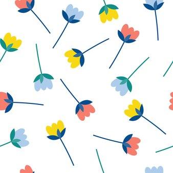 추상 꽃 원활한 패턴 배경입니다. 디자인 카드, 벽지, 앨범, 스크랩북, 휴일 포장지, 섬유 직물, 가방 프린트, 티셔츠 등을 위한 유치한 간단한 응용 기하학적 표지