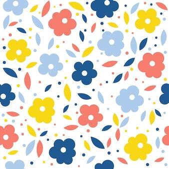 추상 꽃 원활한 패턴 배경입니다. 디자인 카드, 벽지, 앨범, 스크랩북, 휴일 포장지, 섬유 직물, 가방 프린트, 티셔츠 등을 위한 유치한 벽지 커버.