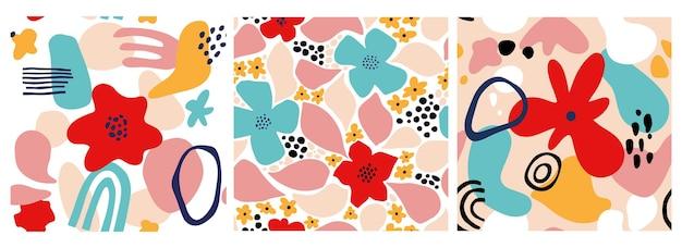 幾何学的な形、スポット、熱帯のモチーフで設定された抽象的な花のシームレスなパターン。モダンな形と花の要素でグラフィックプリントを繰り返します。ベクトルコラージュスタイルのイラスト。トレンディな花柄。