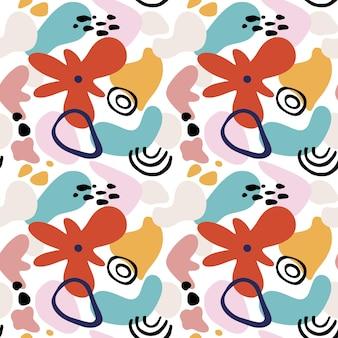 幾何学的な形、スポット、熱帯のモチーフを持つ抽象的な花のシームレスなパターン。モダンな形と花の要素でグラフィックプリントを繰り返します。ベクトルコラージュスタイルの背景。トレンディな花柄。
