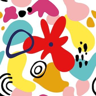 幾何学的な形、スポット、熱帯のモチーフを持つ抽象的な花のシームレスなパターン。モダンな形と花の要素でグラフィックプリントを繰り返します。ベクトルコラージュスタイルのイラスト。トレンディな花柄。