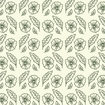 Abstract flower seamless pattern with leaves.