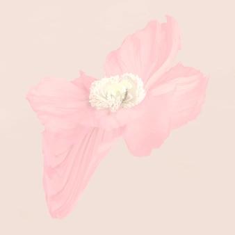 抽象的な花のステッカーのベクトル、サイケデリックなピンクのポピーの美学