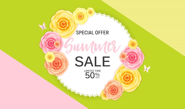 Abstract flower summer sale background with frame.  illustration