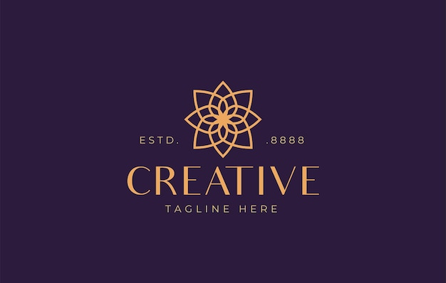 Abstract flower symmetry logo design vector illustration of nature flower monoline design