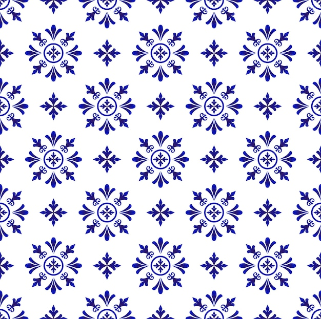 Abstract flower tile pattern blue and white , porcelain background