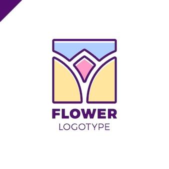 Abstract flower tulip logo in square icon vector design. elegant linear premium symbol.