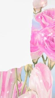 Sfondo di carta da parati fiore astratto, rosa glitterata