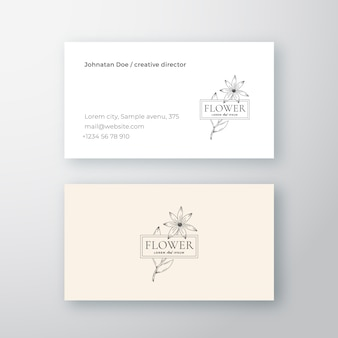 Abstract flower with frame vector sign or logo and business card template.