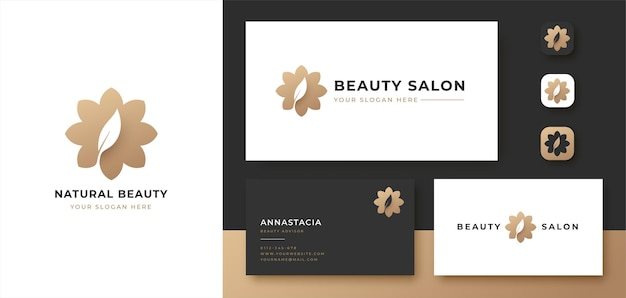 Abstract flower with leaf logo and business card design