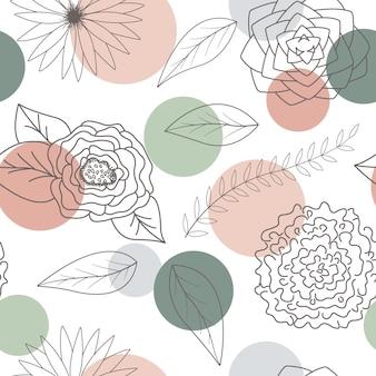 Абстрактные цветы и листья бесшовный фон фон