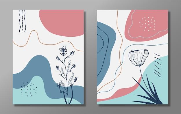 抽象的な花と葉の流行のセット