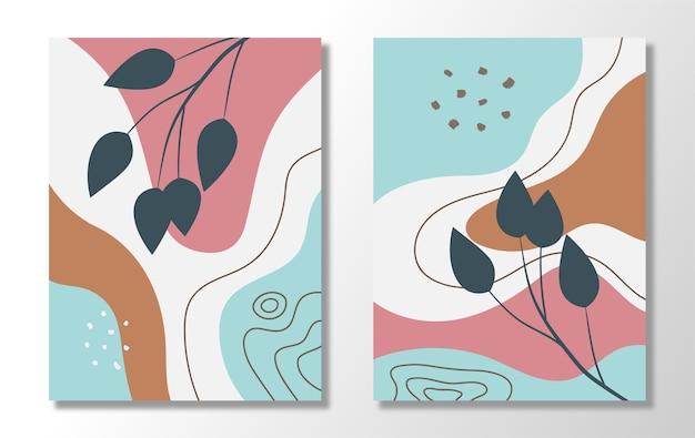 抽象的な花とリーブスの流行のセット