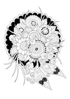 Абстрактные цветы. черно-белый фон. раскраска.