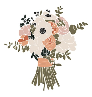 Abstract flowers bouquet isolated illustration