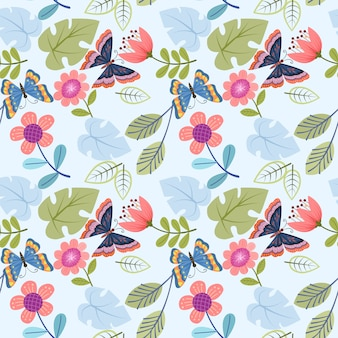 Abstract flowers and butterfly seamless pattern
