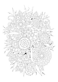 抽象的な花。ぬりえ。図。