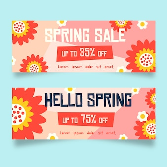 Абстрактные цветы плоский дизайн весенние продажи баннеров