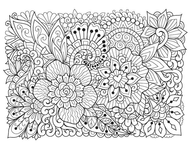 배경용 추상 꽃, 성인용 색칠하기 책, 제품 인쇄, 조각, 종이 절단 등. 벡터 일러스트 레이 션.
